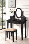 mission style vanity table set - black