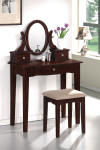 mission style vanity table set - cherrywood
