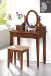 mission style vanity table set - dark oak