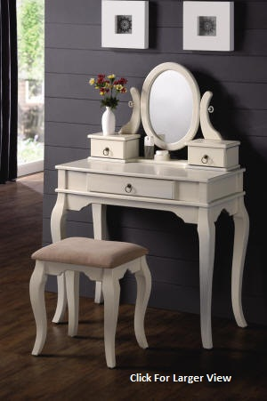 queen anne style white vanity table set